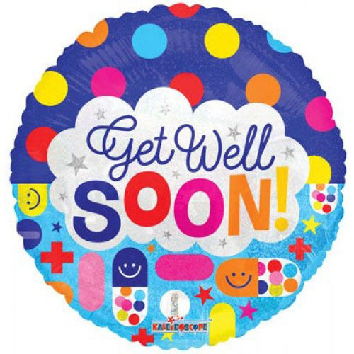 "18"" Foil Balloon Get Well Soon Dots And Meds"