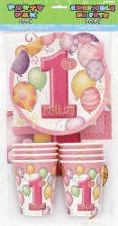 1ST BALLOONS PINK PARTY PACK FOR 8