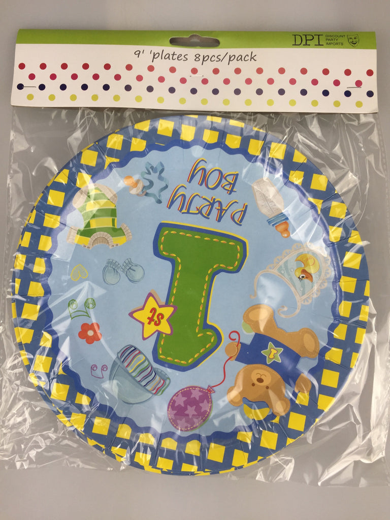 "1ST BIRTHDAY BOY 9"" PLATES 8 PACK"