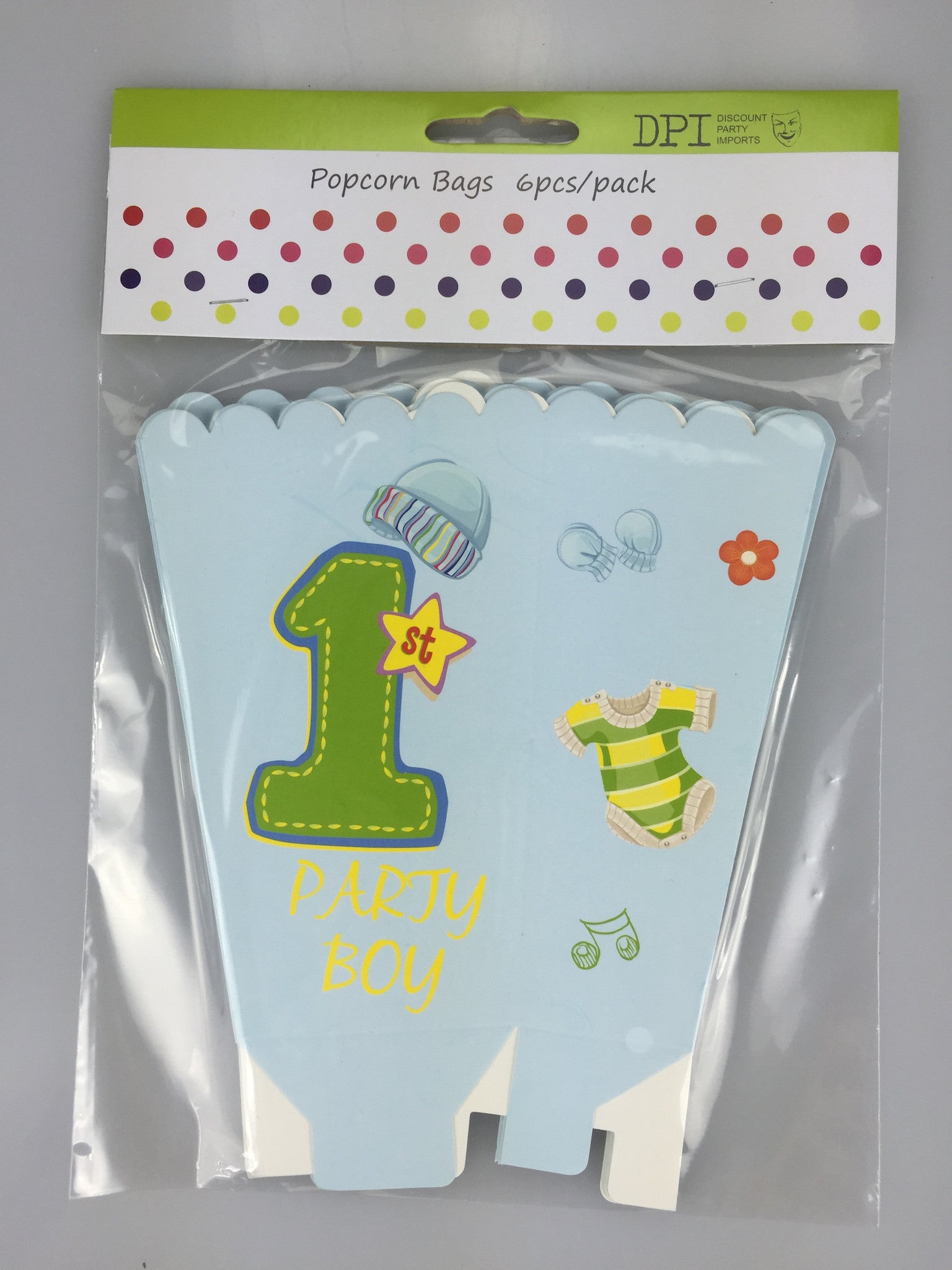 1ST BIRTHDAY BOY POPCORN BAGS 6 PACK