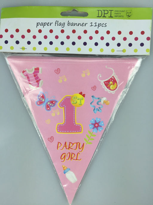 1ST BIRTHDAY GIRL PAPER FLAG BANNER 3.6M