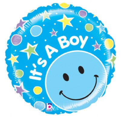 "21"" FOIL BALLOON IT'S A BOY BRIGHT SMILEY"