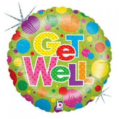 "Foil Balloon 18"" Get Well With Coloured Dots"