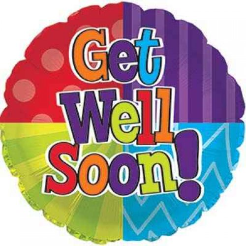 "Foil Balloon 18"" Get Well Dots And Stripes"