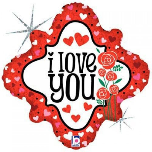 "Foil Balloon 18"" I Love You Hearts And Rose"