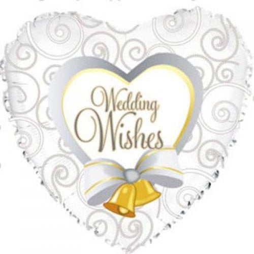 "18"" Foil Balloon Wedding Wishes Bells"