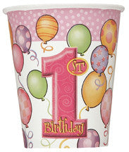 1ST BDAY CUPS PINK