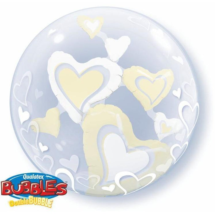 Bubble Double Ivory & White Hearts