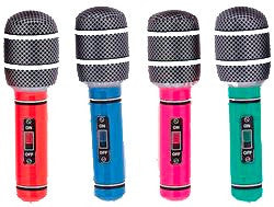 "INFLATABLE MICROPHONE 30"" ASSORTED"