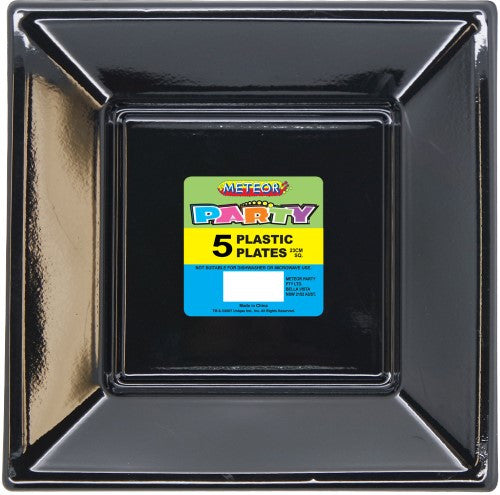 "9"" Black Square Plastic Plates 5 Pack"