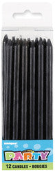 Long Candles 12 Pack - Black
