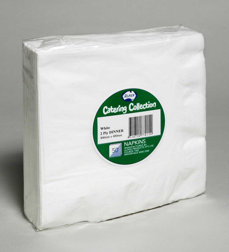 Alpen Napkins Cocktail White Pk 250