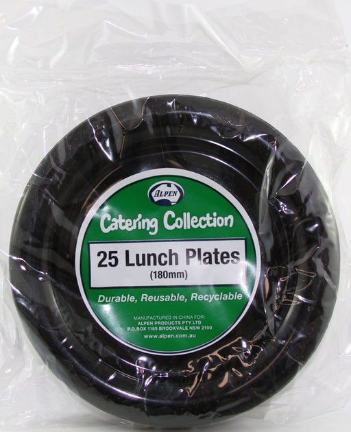 Plastic Lunch Plate 25 Pack - Black