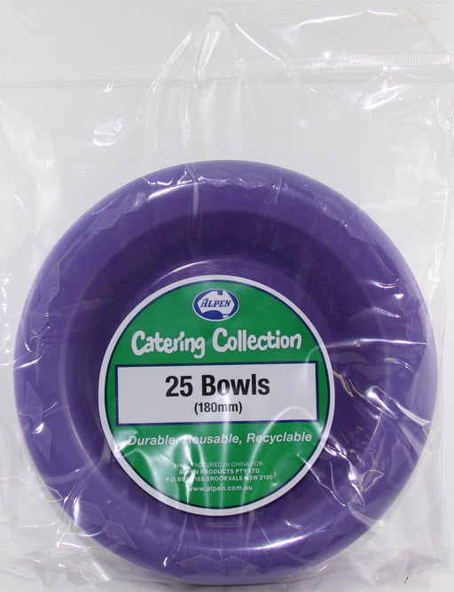 Plastic Bowl 25 Pack - Purple