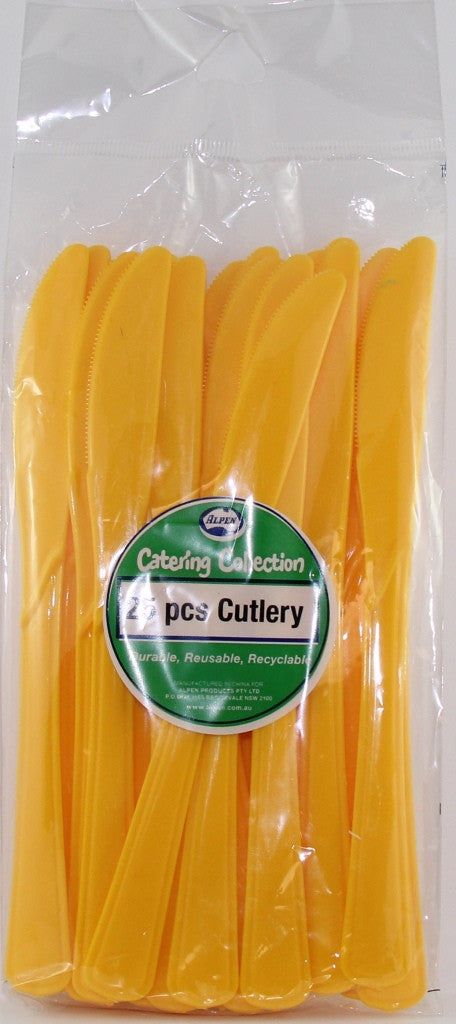 Plastic Knife 25 Pack - Yellow