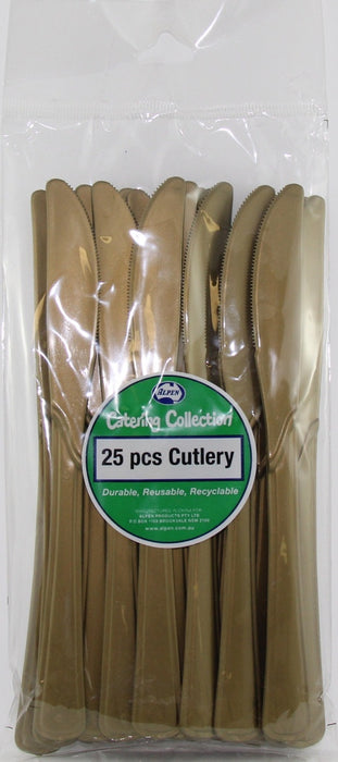 Plastic Knife 25 Pack - Gold