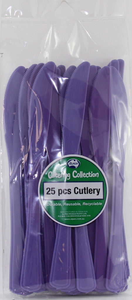 Plastic Knife 25 Pack - Purple