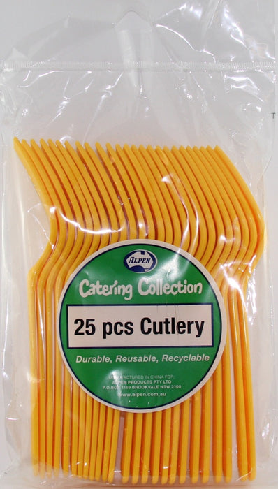 Plastic Fork 25 Pack - Yellow