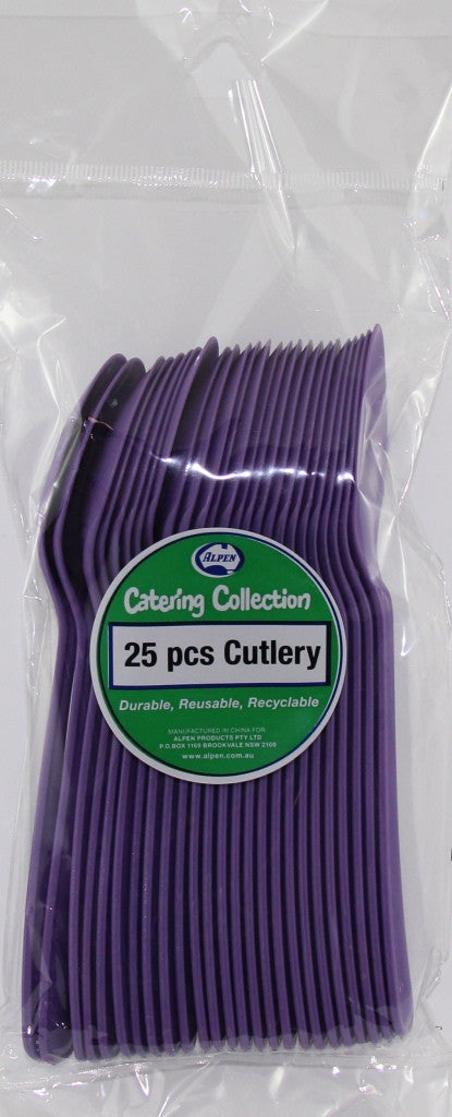 Plastic Spoon 25 Pack - Purple