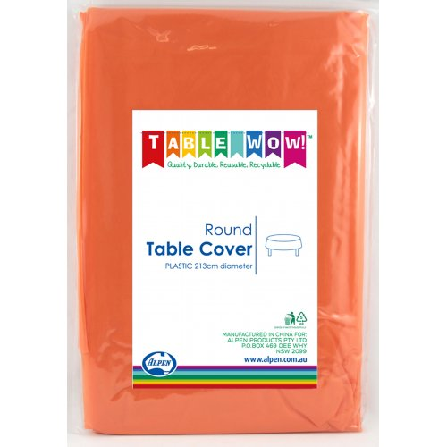 Plastic Table Cover Round - Orange