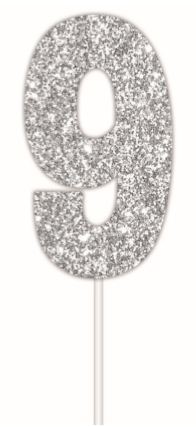 Cake Topper Glitter Silver Number 9