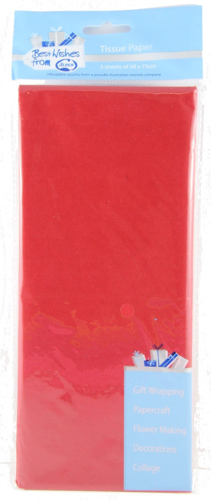 Tissue Paper 5 Sheets Red