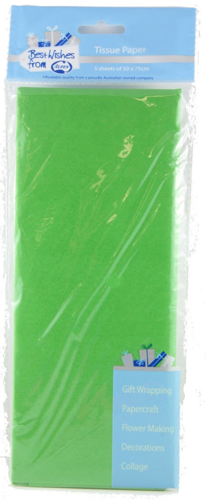 Tissue Paper 5 Sheets Lime Green