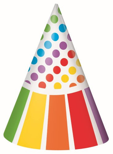 Rainbow Party Hats 8 Pack