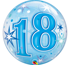 18 BLUE STARBURST SPARKLE BUBBLE BALLOON 55cm