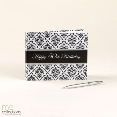 GUEST BOOK  WITH PEN 50TH DAMASK