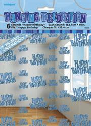 Hanging String Decoration Glitz Blue - Happy Birthday