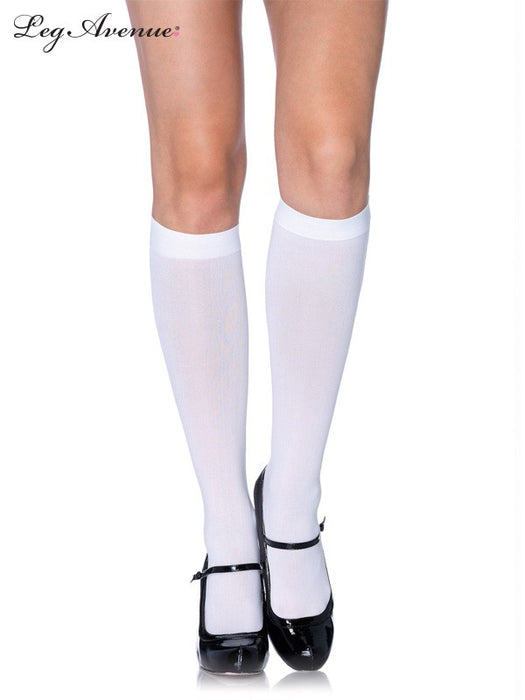 Leg Avenue Nylon Opaque Knee High White