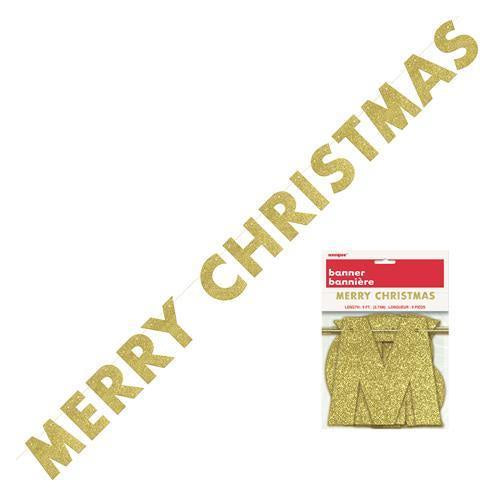 Merry Christmas Glitter Banner Gold