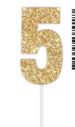 Cake Topper Glitter Gold Number 5