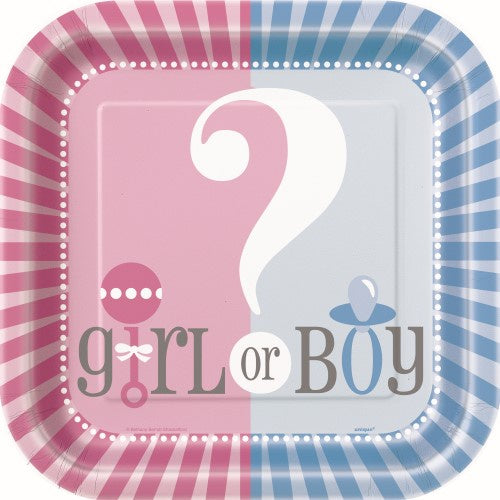 Baby Reveal 9 inch Square Paper Plates