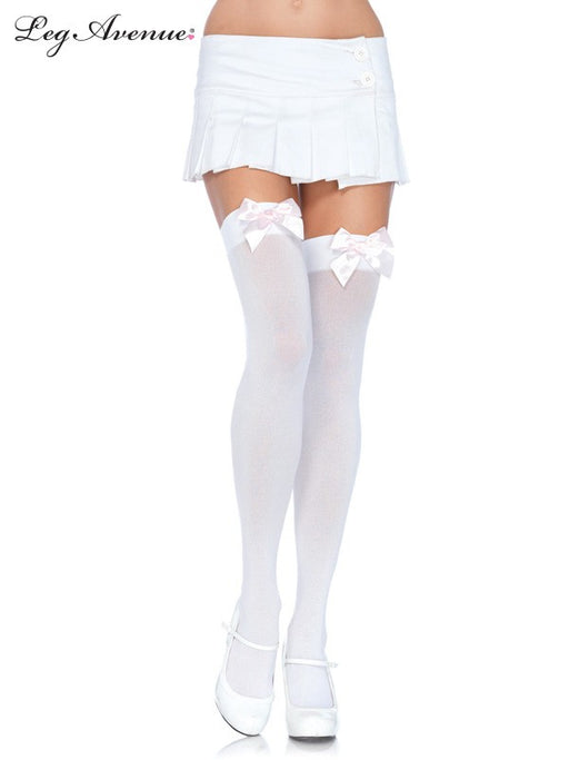 Leg Avenue Over The Knee Stocking White With LT. Pink Bow