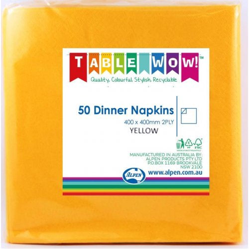 Dinner Napkin Pack 50 - Yellow