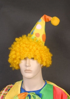 Yellow Clown Hat with Hair