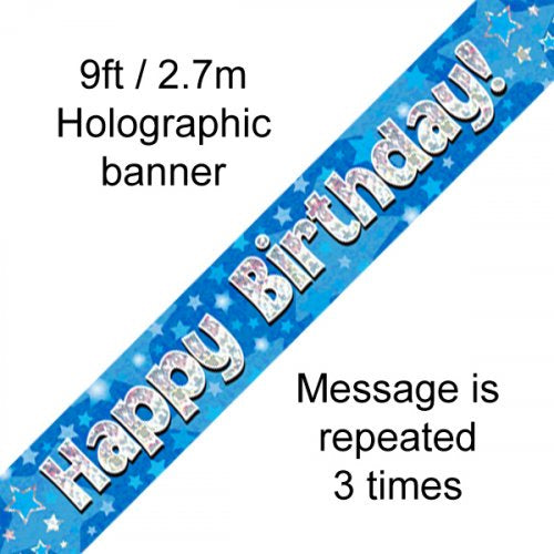 Happy Birthday Blue Holographic 9ft Banner