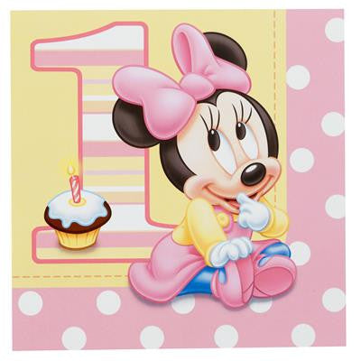Minnie Mouse 1st birthday luncheon napkins 16 pack