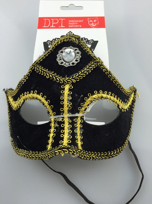 BLACK AND GOLD EYE MASK WITH DIAMOND