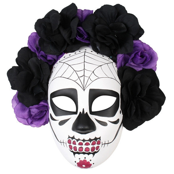 SUGAR SKULL MASK - BLACK AND PURPLE FLOWERS