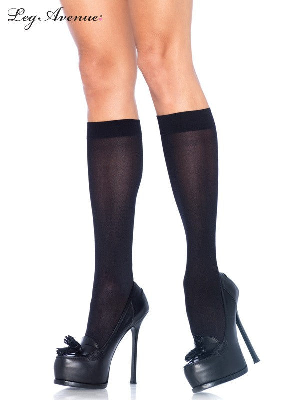 BLACK NYLON KNEE HIGH STOCKINGS