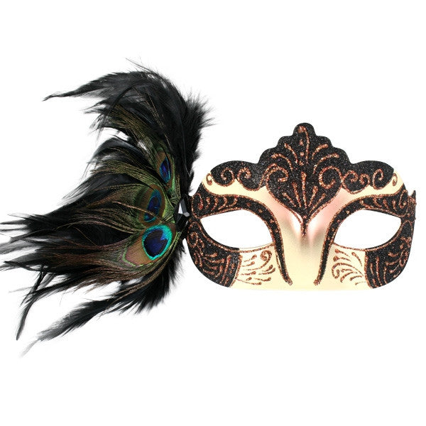 EYE MASK BURLESQUE WITH PEACOCK FEATHERS BLACK