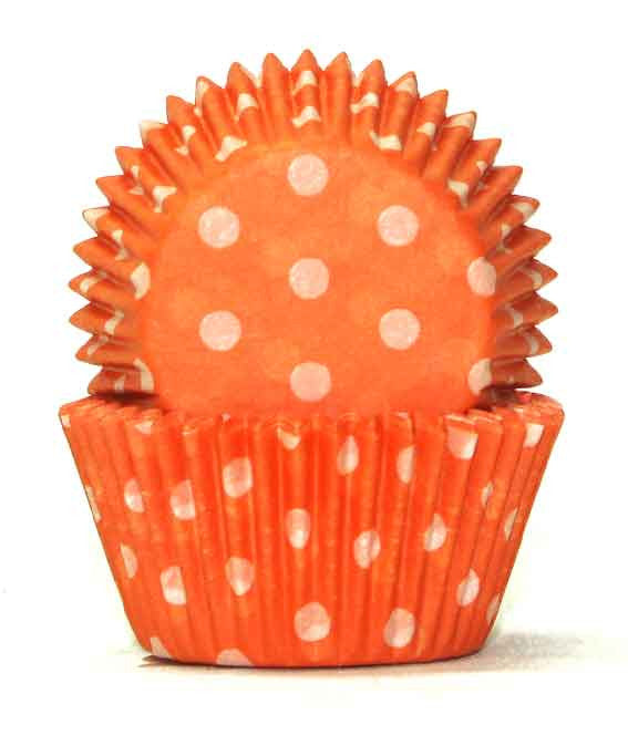 408 Baking Cups - Orange Polka Dots - 100 Piece Pack