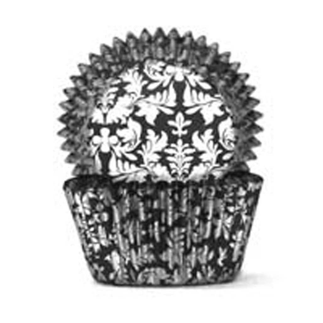 408 Baking Cups - Black/Silver High Tea - 100 Piece Pack