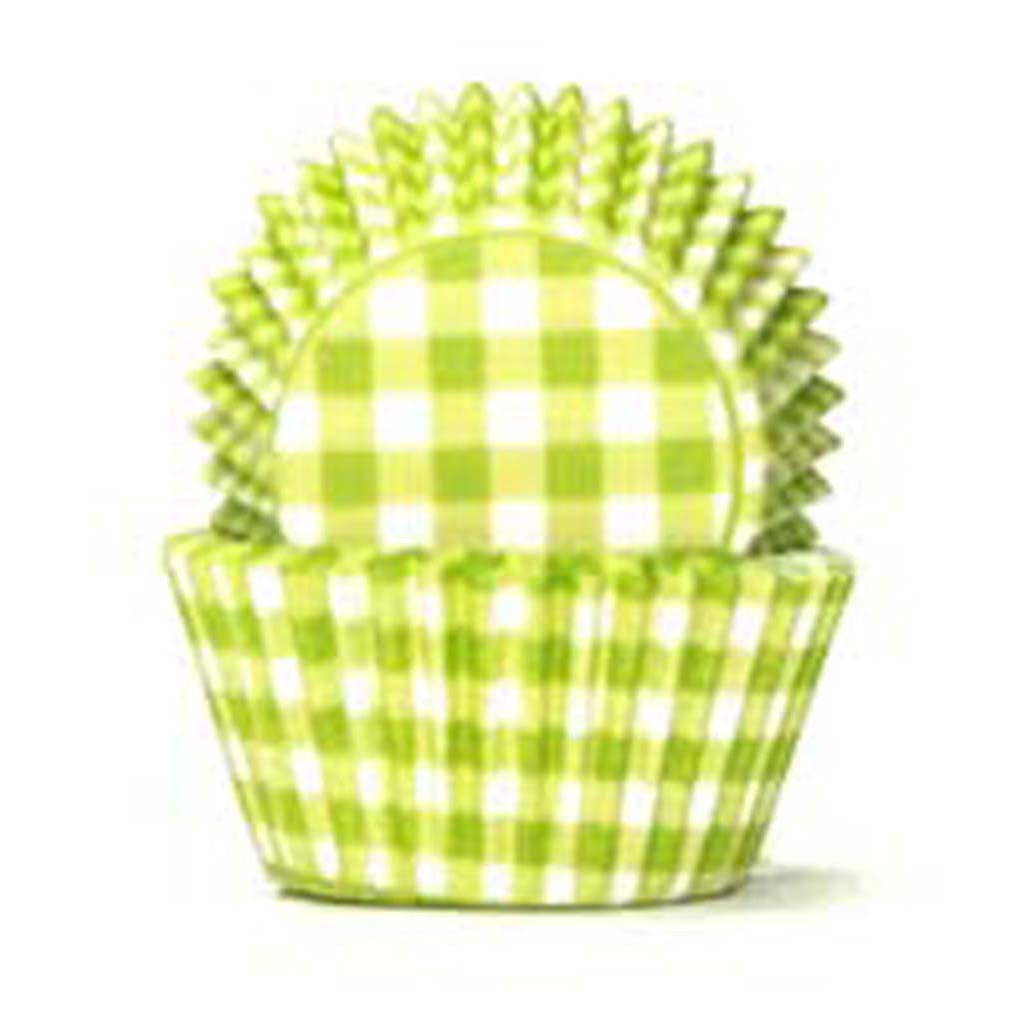 408 Baking Cups - Lime Green Gingham - 100 Piece Pack