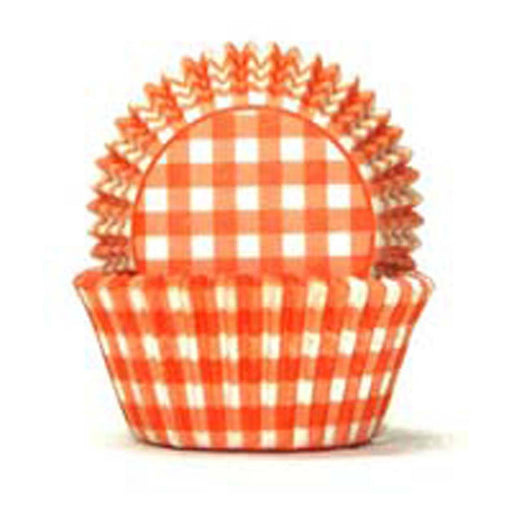 700 Baking Cups - Orange Gingham - 100 Piece Pack