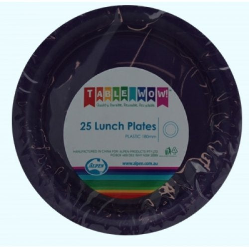 Plastic Lunch Plate 25 Pack - Purple