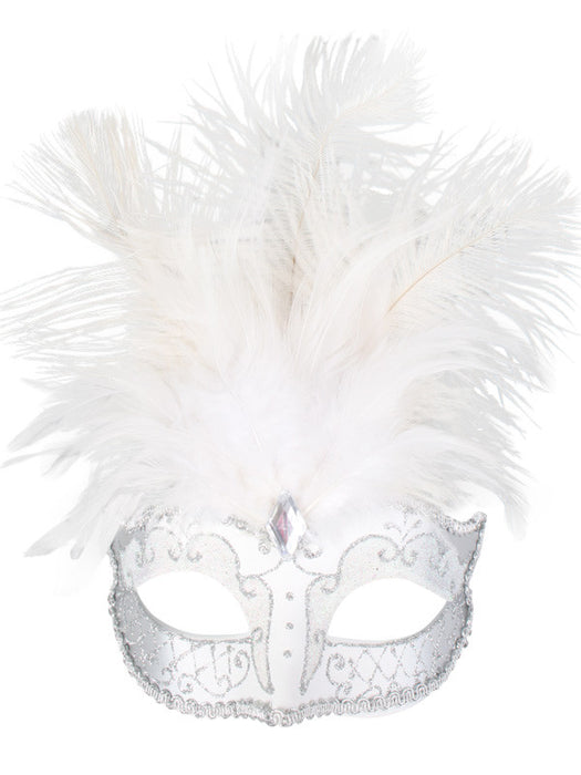 Carmela White & Silver With Feather
